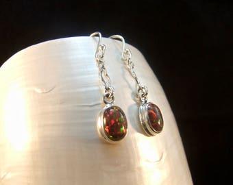 Red Fire Opal Silver Sterling Drop Earrings