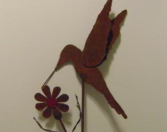 Metal Garden Art, Hummingbird Yard Stake, Sculptured Metal Hummingbird and Flower with upcycled barbed wire stems, Bird Garden Stake