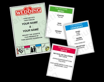 A5 Monopoly Styled  Board Game Themed Party Wedding Invite Plus A6 Information Cards Pack • Personalized for YOU to Self Print