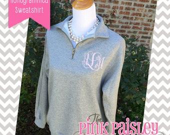 Quarter Zip Pullover | Monogrammed 1/4-zip sweatshirt | Monogram fleece pullover