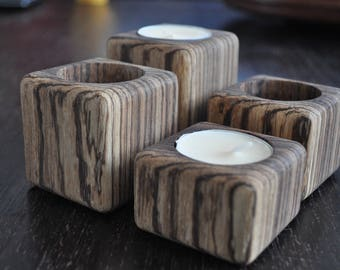 4 Wooden votive candle holders, tealight holder made from 1 piece of zebrano wood.