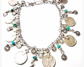 Boho anklet with turquoise , coins and feathers