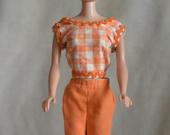Vintage Barbie Tagged Pants with Cool Early Clone Orange Top
