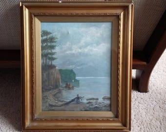 Vintage Original Oil on Canvas Lady Strolling Ambelside 1909