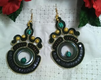 Soutache earrings, flamenco earrings, party earrings, silk jewelry, guest earrings, Mother's Day