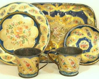 1900s Tin litho Toy Tea Set, Blue with gold braid & flowers. 7 pieces.