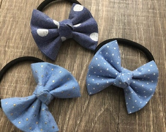 Denim bow hair tie