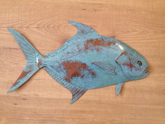 Pompano Fish Wall Sculpture 24in Tropical  Coastal Beach Metal Wall Art