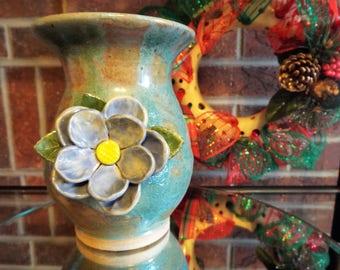 Handmade Ceramic Vase with Flower