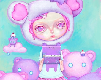 Kawaii Art Print - pastel kei, fairy kei, pastel pink hair, cute big eyes girl, pop surrealism, pastel purple, digital art painting, 8x8