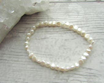 White Freshwater Pearl Bracelet - Stretchy Bracelet - Natural Pearl Jewellery - Elasticated Pearl's #2