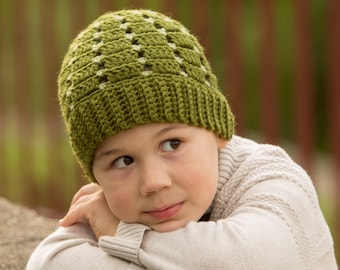 Crocheted Beanie Hat (size: 3-6 years) - Ready to Ship