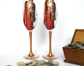 Hand painted Wedding Toasting Flutes Set of 2 Personalized Champagne glasses Indian wedding