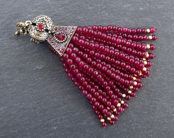 Large Long Red Jade Stone Stone Beaded Tassel with Red Clear Crystal Accents - Antique Bronze - 1PC - NEW FULLER