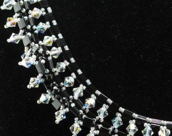 Black Tila Beads with Swarovski Crystals