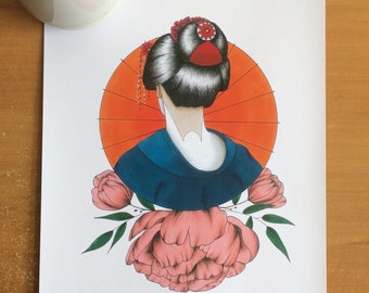 Drawing Geisha (print)