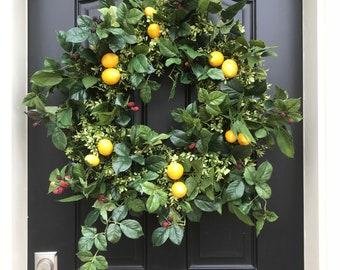 NEW 2018 SPRING WREATHS, Lemons Wreath, Yellow Lemon Wreath, Boxwood and Lemons, Southern Living Lemons and Mulberries Wreath, Porch Wreaths