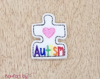 Rainbow Autism Puzzle Piece Felties- (set of 4) UN-CUT