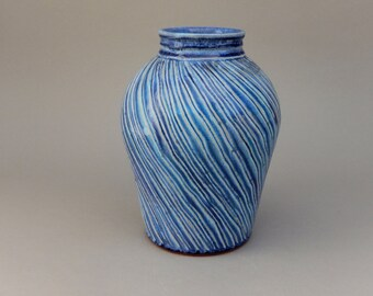 Ceramic Vase - Aquamarine Handmade Glazed Terracotta Pottery Vase - Earthy and Elegant Flower Vase