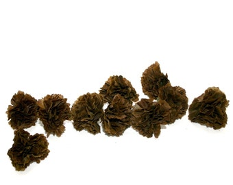 100 Deep Brown Baby Carnations - Silk Flowers -  PRE-ORDER