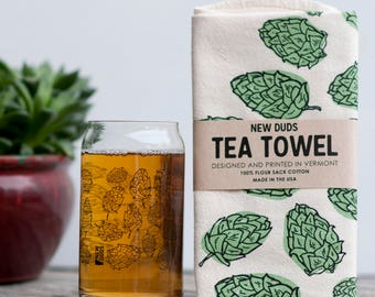 Pint Glass and Tea Towel Set Hops design brewer beer lover beer gift