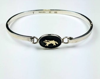 Native American Navajo handmade Sterling Silver 14k Gold overlay cuff bracelet