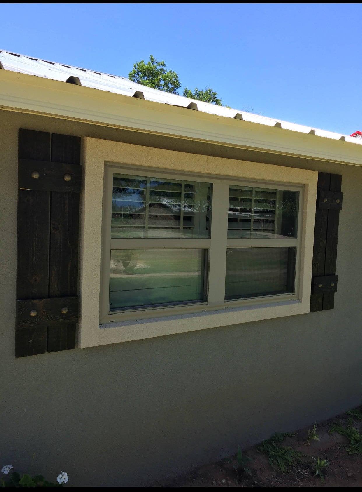Stained cedar shutters exterior shutters Board and Batten