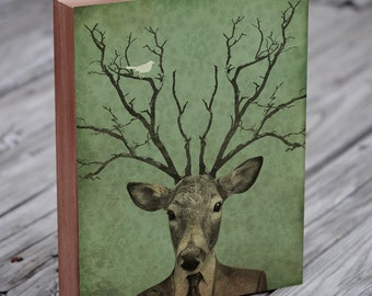 Deer Head - Deer Antler - Leroy's Antlers - Wood Block Art Print