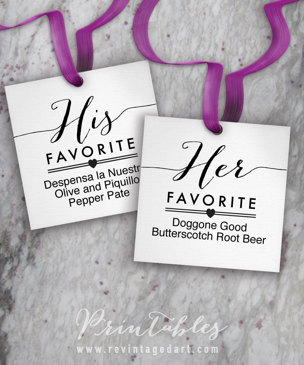 His Favorite & Her Favorite Tags Printable, Editable Wedding Favor ...