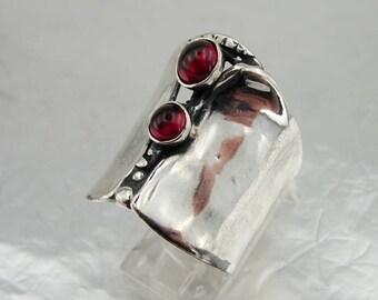 Fine Red Garnet Ring, 925 Sterling Silver Garnet Ring size 6, Garnet ring, Red stone ring. Free Shipping, Israeli Jewelry, Gift (h 100