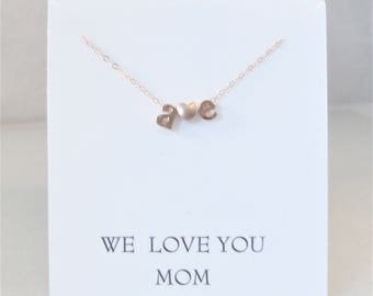 We Love you MOM,Personalized Initial Necklace,Rose Gold,Rose Gold Letter Necklace Custom Personalized Wedding Minimalist Monogram Gift