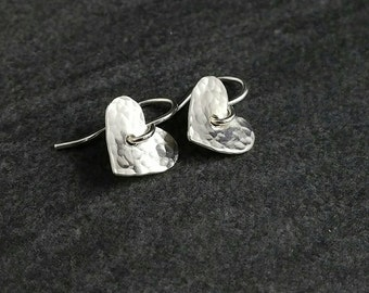 Hammered Heart Earrings, French Hook Earrings, Heart Earrings, Sterling Silver French Hook Earrings, Handmade Earrings