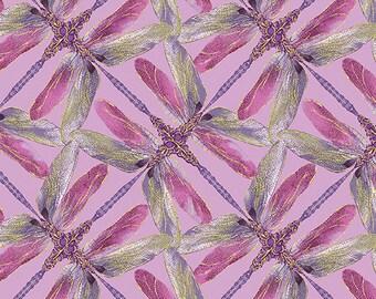 Maria Kalinowski - Dance of the Dragonfly  - Per Yd - Benartex - Kanvas  - Dragonflies geo pinwheel - dark lavender and magenta on lilac