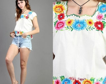 SALE SALE SALE vintage 70s Floral + Embroidered scalloped Peasant shirt / rainbow hippie boho ethnic festival 1970s