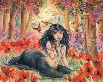 Unicorn Girl -whimsical fairy fantasy unicorn poppy fairytale illustration