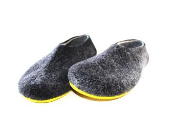 House Shoes For Men, Felt Slippers Gray Men Felted Slippers, Mens Clogs, Woolen Slippers, Unisex Slippers, Mens Wool Slippers Eco Wool Boots