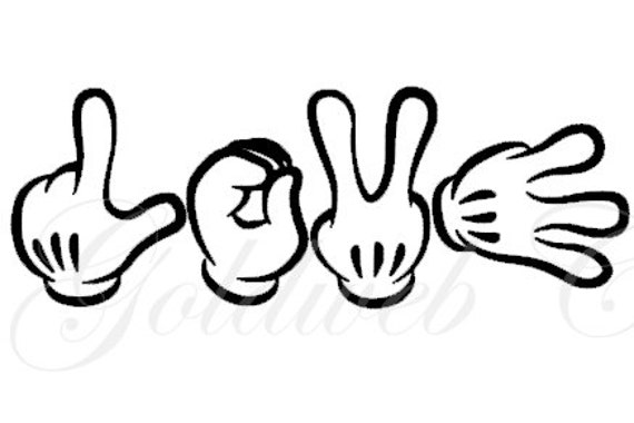 Love Mickey Mouse Inspired Sign Language Car Vinyl Decal