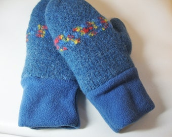Felted wool mittens with fleece cuff and lining - Denim blue with novelty stripe