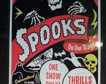 Halloween 50s Spook Show Event Poster Freak Magic Act  Trick Magician Oddities Ghouls Print / Art / Illustration/ Window Card Reproduction