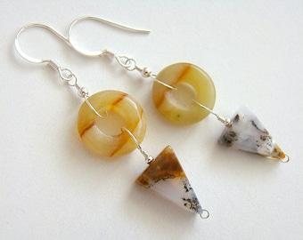 Vistas Earrings, Olive Jade Moss Agate Earrings, Gemstone Drop Earrings, Silver Jewelry, Boho Jewelry