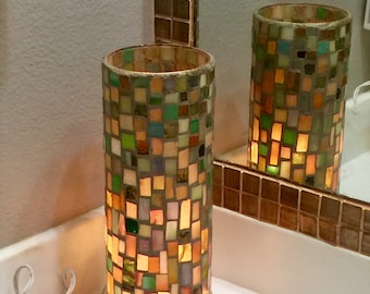 Lamp: stained glass, mosaic, stain glass, mosaic glass, accent light, light, plug in lamp