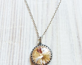 Kate Vintage Crown Swarovski Necklace in Champagne and Antiqued Silver