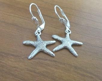 Argent boucles d'oreilles Starfish - Antique Bronze - cuivre Antique