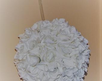 """12"""" D  Kissing Ball White Open Rose silk flower Wedding Decoration Pomander Ball"""