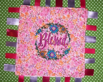 Blessed Taggy, Embroidered Taggy, Sensory Toy, Lovey, Security Blanket, Tag Blanket, Baby Shower Gift,