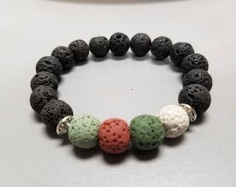 Multi color lava stone diffuser bracelet. 6-7