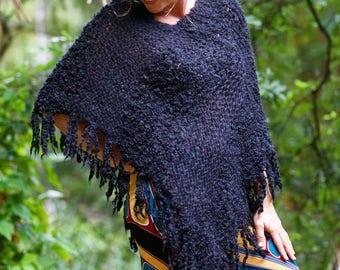 Wool Poncho - Black