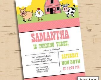Farm Girl Barnyard Birthday Party Invitation Invite INSTANT DOWNLOAD Editable Diy PDF You Edit