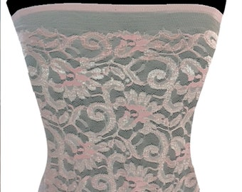 Soft Pink stretch Floral Lace Fabric