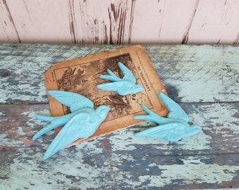 Vintage Sparrows Upcycled in Bright Aqua Blue - Retro Bird Wall Art or Nursery Decor, Burwood Sparrows, Retro Blue Decor, Vintage Wall Art